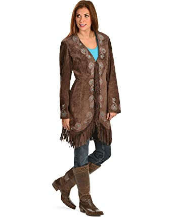 c888788be496 Scully Women s Embroidered Fringe Long Suede Leather Jacket Brown Small
