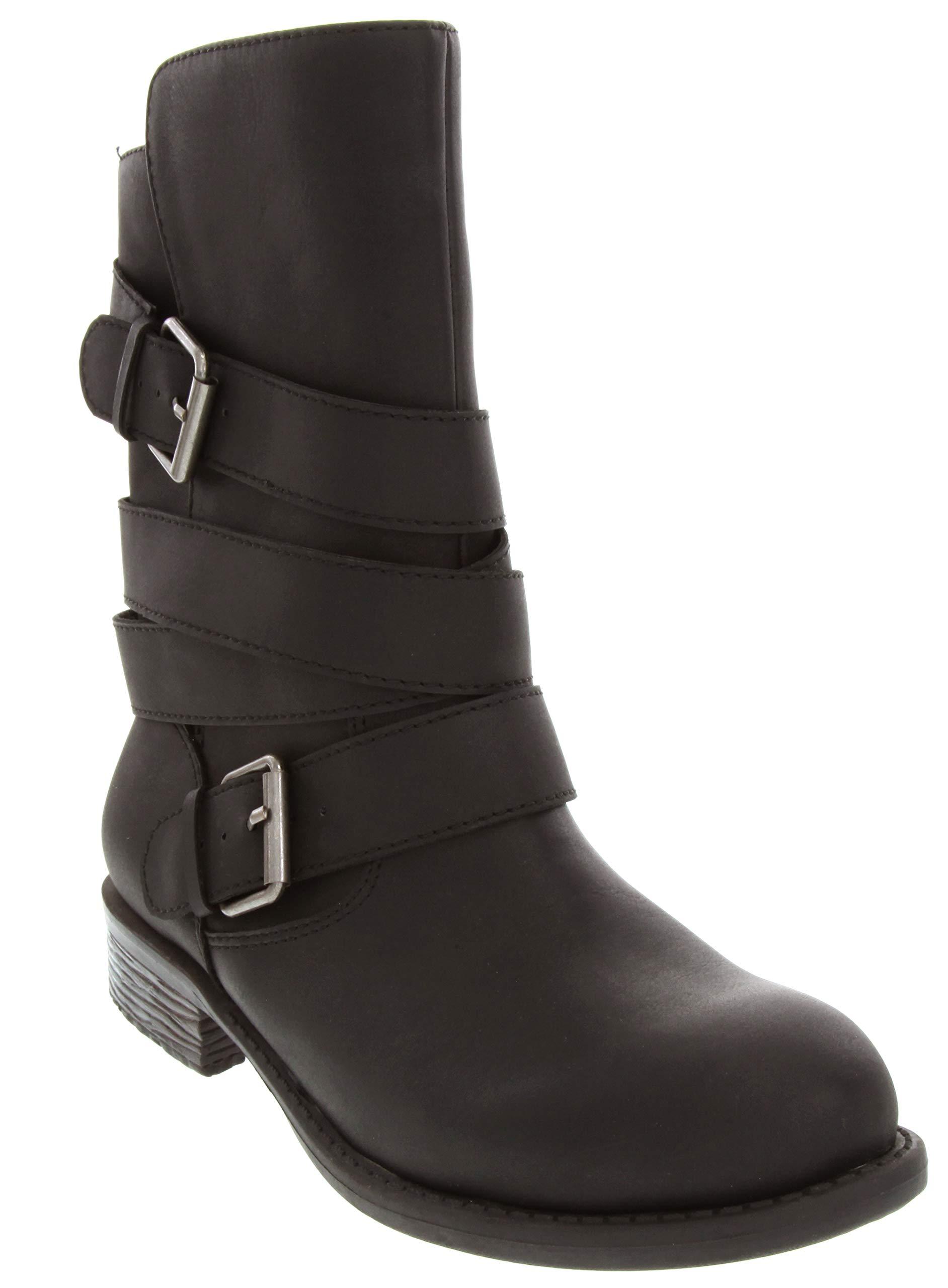 Sugar Women's Irma Dress Multi Strap Motorcycle Low Heel Mid Calf Boot Ladies Pull On Moto Black Nubuck 6.5