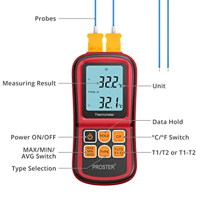Proster Digital Thermocouple Temperature Thermometer with Two K-Type Thermocouple Probe Backlight LCD K Type Thermometer Dual Channel for K J T E R S N Type
