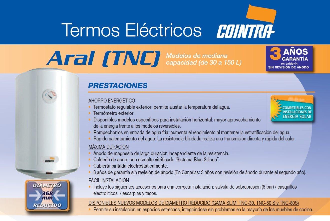 Cointra - Termo eléctrico vertical tnc50 con capacidad de 50 litros: Amazon.es: Bricolaje y herramientas