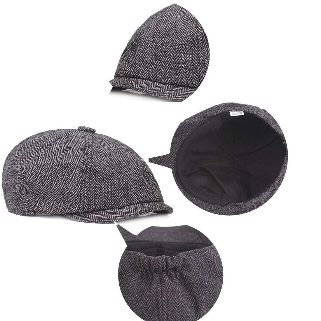 King Star Mens Classic 8 Panel Wool Blend Cabbie Hats Newsboy Herringbone Cap