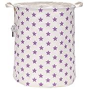Sea Team 19.7  Large Sized Waterproof Coating Ramie Cotton Fabric Folding Laundry Hamper Bucket Cylindric Burlap Canvas Storage Basket with Stylish Purple Stars Design