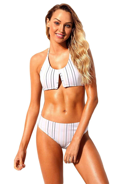 1645781c98 2 PC Halterneck Cut Out Front Striped Stripe Padded Bikini Top and Low  Waist Bikini Bottom Swimwear Swimsuit Bathing Suit Beach Wear Beachwear  Swimming Suit ...