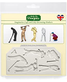 Golfer Silhouettes - Katy Sue Designs Silicone Mold for Cake Decorating Cupcakes Sugarcraft and Candies