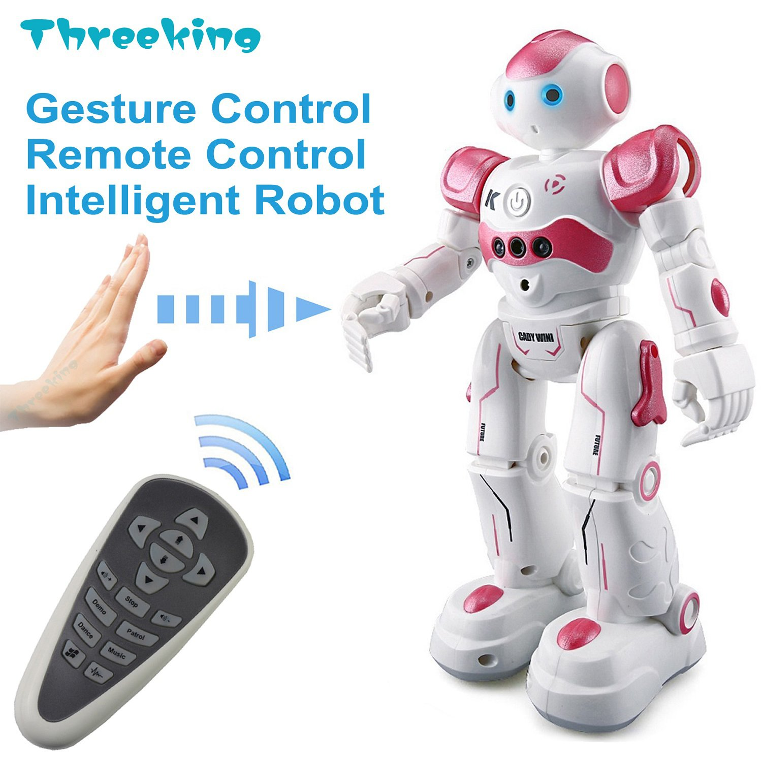 Threeking Smart Robot Toys Gesture Control Remote Control Robot JJRC Robot Gift for Boys Girls Kid's Companion:Game Fun Learning Music Dance Etc.Rechargeable Rc Robot Kit(Female Voice) - Pink