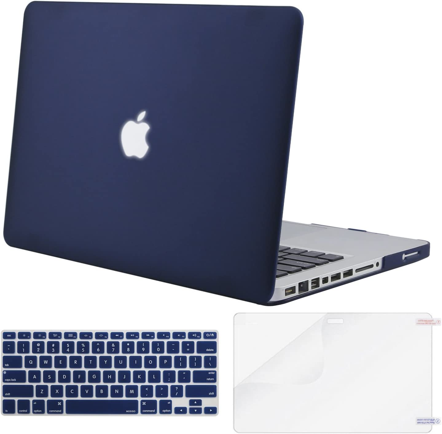 MOSISO Plastic Hard Shell Case & Keyboard Cover & Screen Protector Only Compatible with Old Version MacBook Pro 13 inch (A1278, with CD-ROM), Release Early 2012/2011/2010/2009/2008, Navy Blue