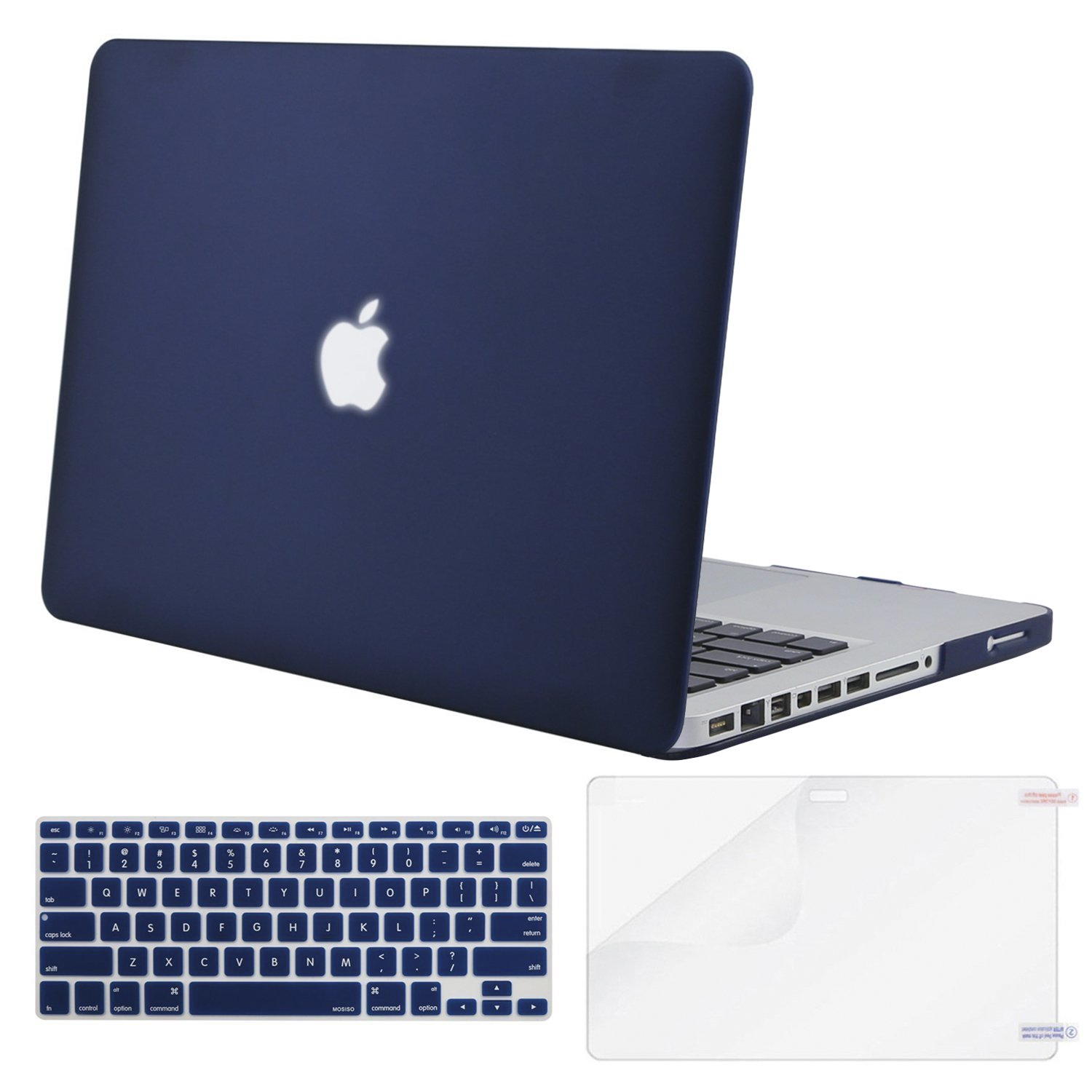 MOSISO Plastic Hard Shell Case & Keyboard Cover & Screen Protector Only Compatible with Old Version MacBook Pro 13 Inch (A1278, with CD-ROM), Release Early 2012/2011/2010/2009/2008, Navy Blue by MOSISO