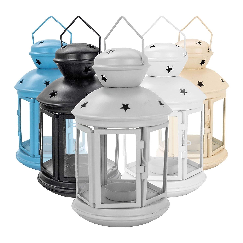 Nicola Spring Bougie lanternes Porte-Photophore Vintage Métal Suspendu Intérieur Extérieur - 20cm - Blanc