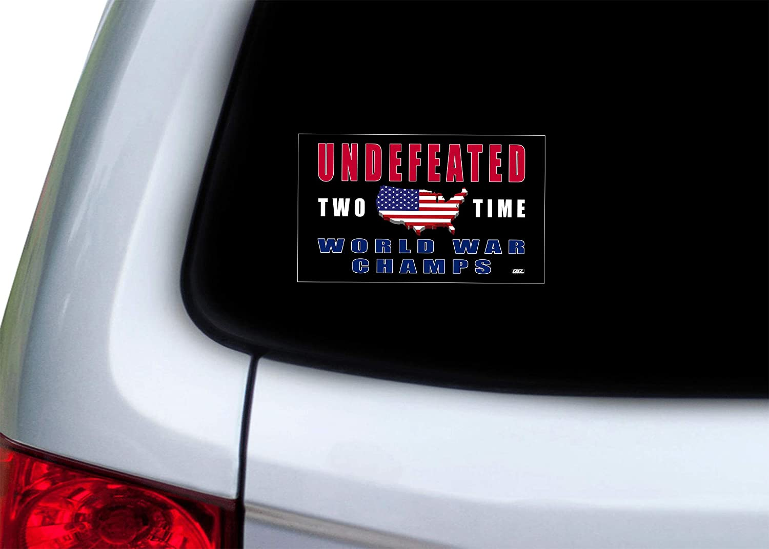 Rogue River Tactical Funny USA Flag Undefeated Two Time World War Champs Patriotic Car Truck Bumper Sticker Vinyl Decal US Military Veteran