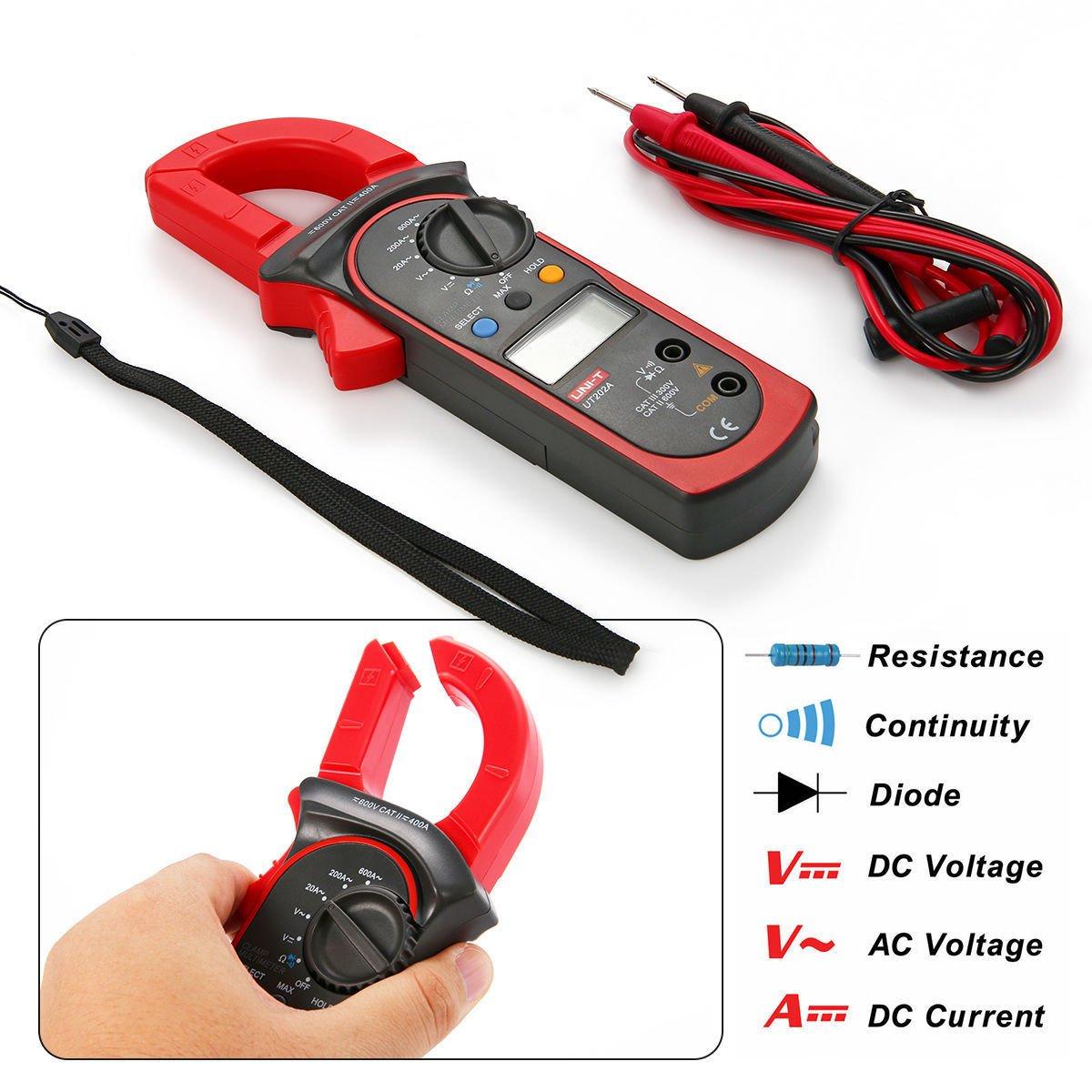 Signstek Uni-t UT202A Auto/Manual Range Digital Handheld Clamp Meter Multimeter Test Tool Digital Handheld Clamp Ohm Tester, AC/DC Voltmeter, AC Current by Signstek (Image #3)
