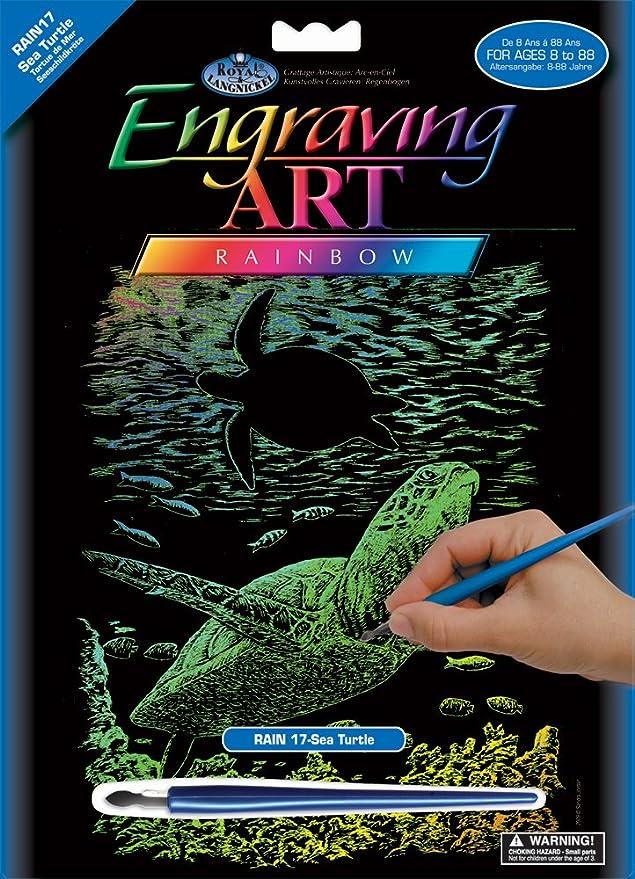 Engraving Art//Kratzbilder Meeresschildkr/öte Royal /& Langnickel RAIN17 regenbogenfarbe DIN A4