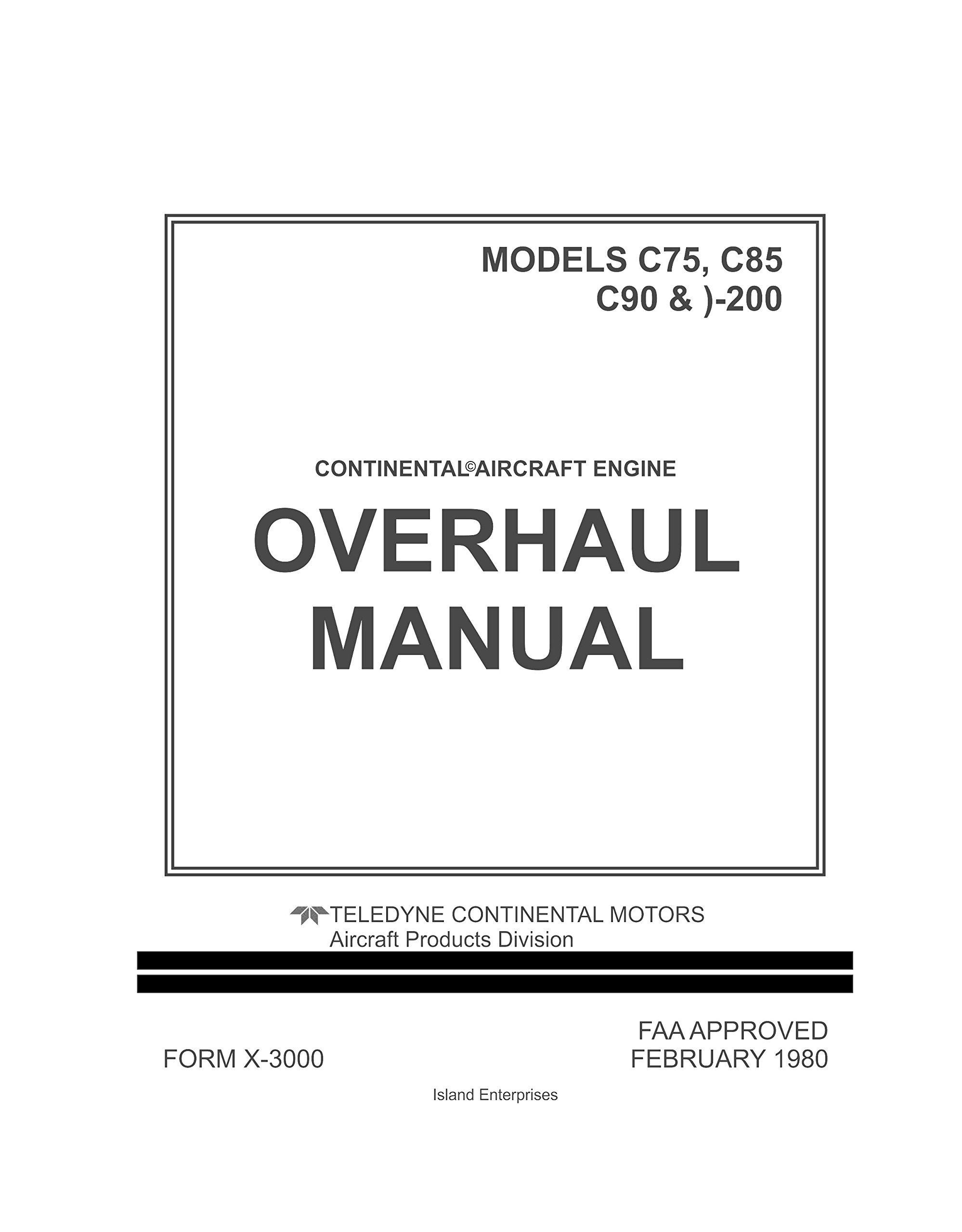 continental overhaul manual for aircraft engine models c75, c85, c90 &  o-200 loose leaf – 1980