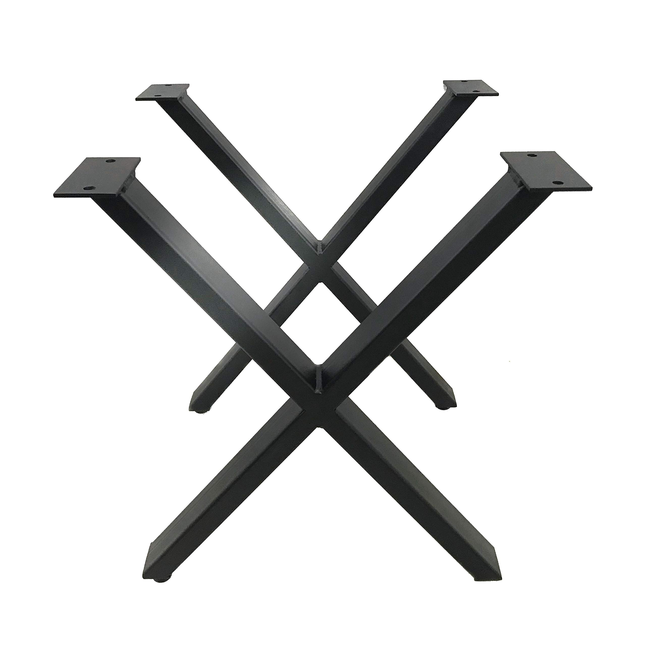 Set of 2 Modern Industrial X Table Legs, Self Leveling, Heavy Duty Kitchen, Dining and Bench Legs, Powder Coated Flat Black (28Hx24W Table Leg Set)