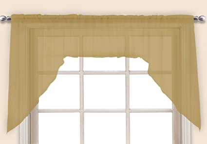 United Curtain Monte Carlo Sheer Toppers Pair of Swags, 60 x 38, Bronze