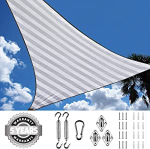 Quictent 185G HDPE Triangle 20x20x20FT Sun Shade Sail Canopy 98% UV Block Top Outdoor Cover Patio Garden with Hardware Kit (White and Grey)