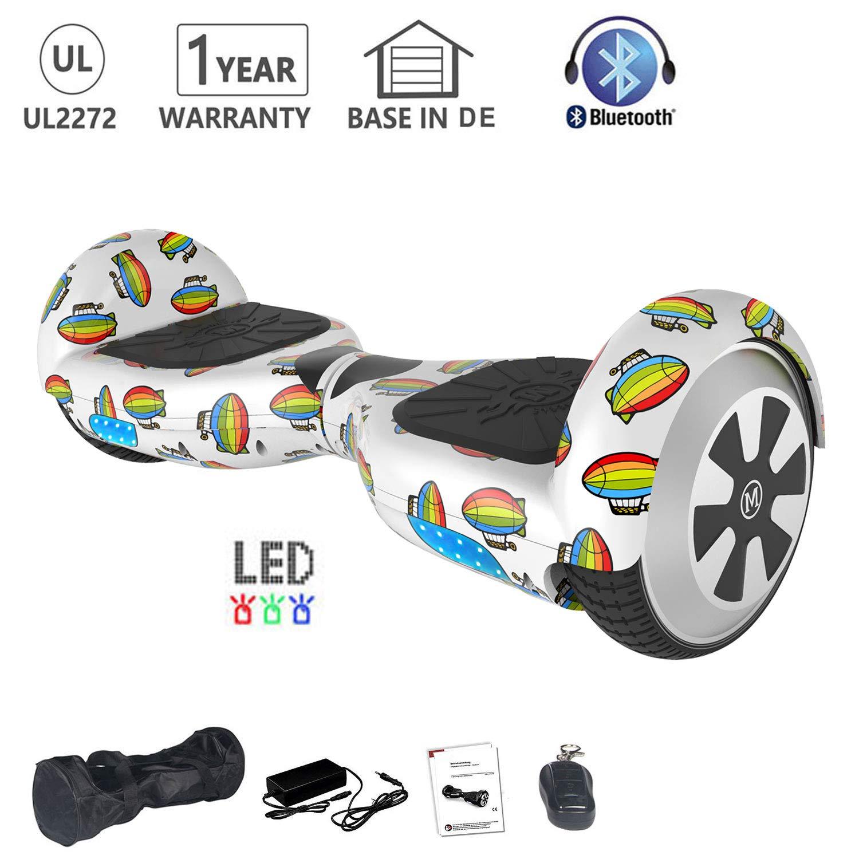 HoWay Patinete Electrico 6.5 Pulgadas 700W con Altavoz Bluetooth UL2272 Luces LED Scooter eléctrico (Globo de Aire Caliente)