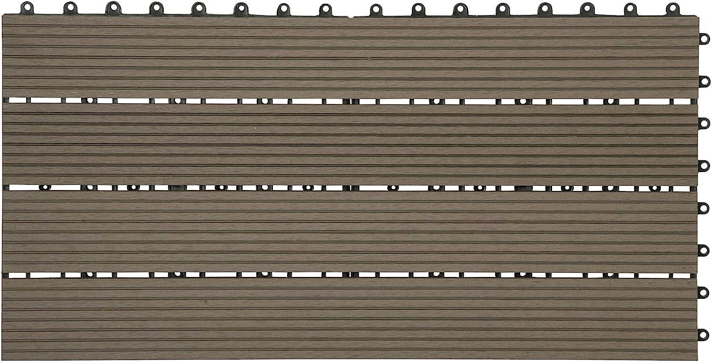 6 St/ück // 1 m/² Fliese Bodenfliese Klickfliese mit klicksystem Bodenbelag Anthrazit WOLTU WPC Terrassenfliesen Terrassendielen Holz-Optik 30x60cm
