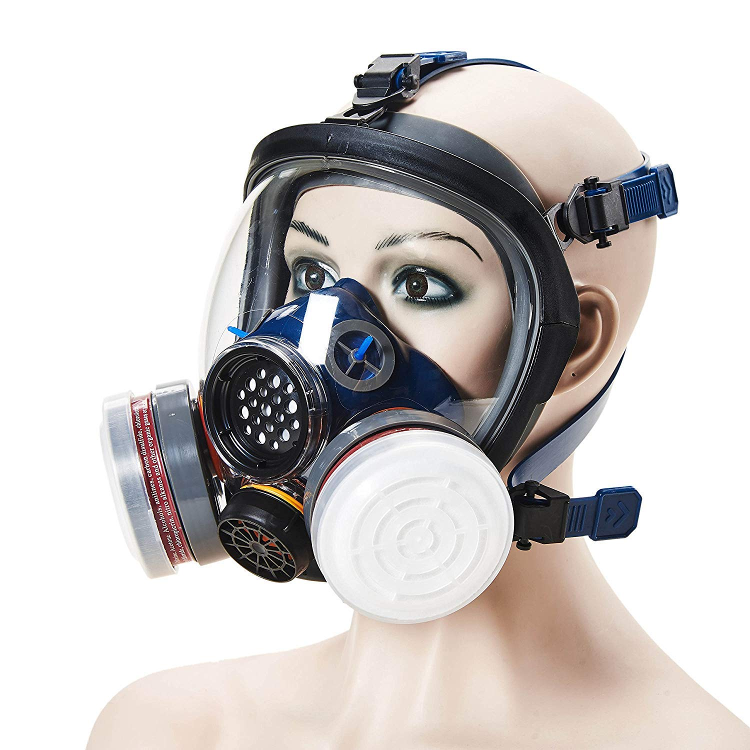 Phoenixfly99 Organic Vapor Full Face Respirator Safety Mask N95 Double Activated Charcoal Air filter For Painting Formaldehyde Chemicals Respiratory Protection (Safety mask+1 Pair 3# filter) by Phoenixfly99 (Image #4)