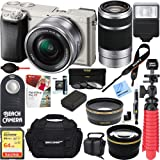 Sony Alpha a6000 24.3MP Silver Interchangeable Lens Camera w/ 16-50mm Zoom 32GB Kit Includes memory card, battery, gadget bag, HDMI cable, mini tripod and more (2 Lens Deluxe Kit 16-50mm & 55-210mm)