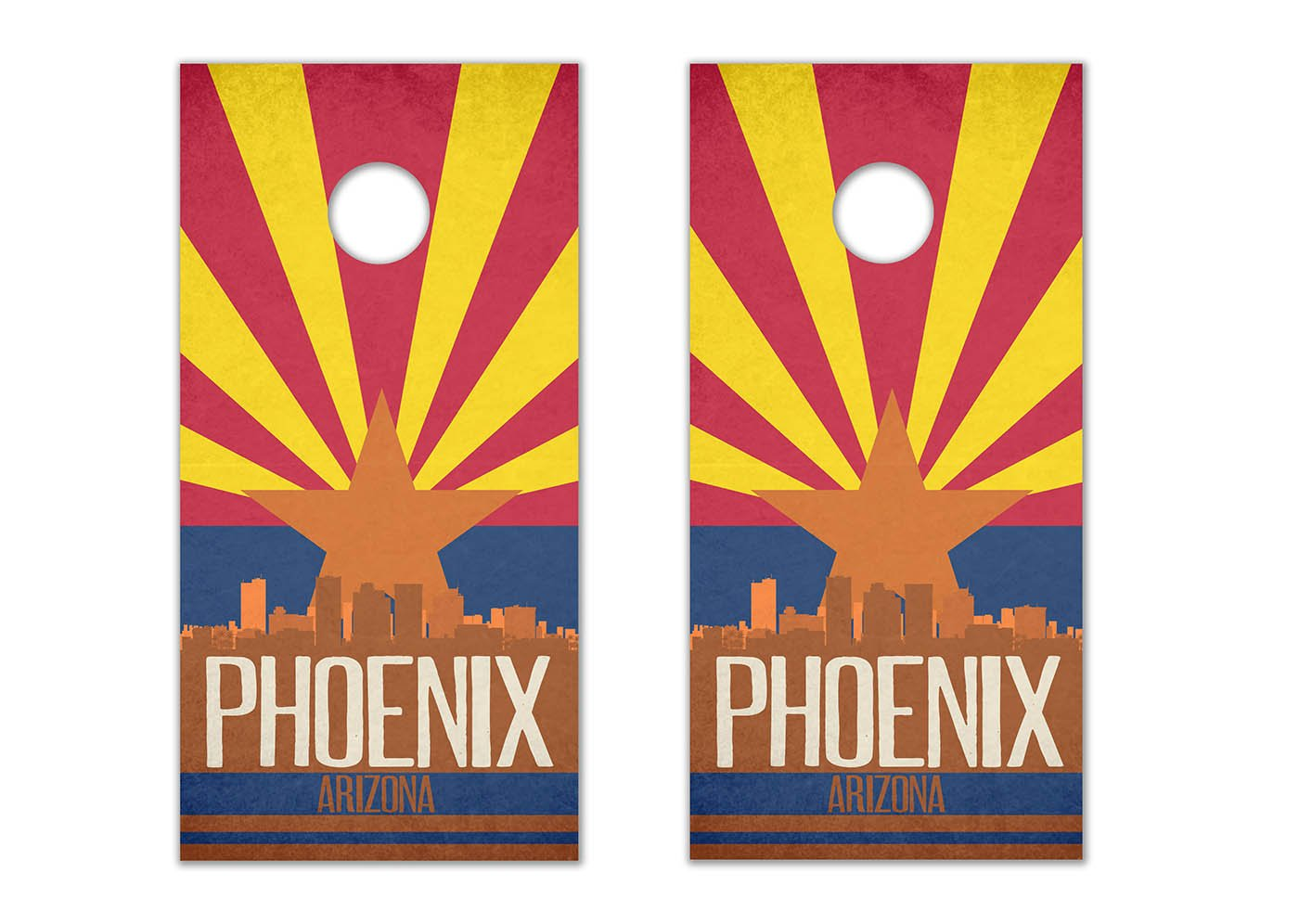 Phoenix State Flag Skyline - Cornhole Crew - ACA Regulation Size Cornhole Board Decals