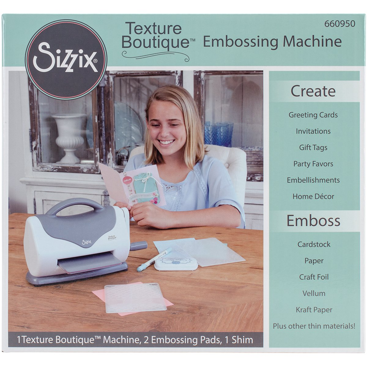 Sizzix 660951 Texture Boutique Embossing Machine Starter Kit, White/Gray Ellison
