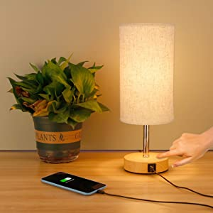 tronisky Touch Control Table Lamp, Nightstand Lamp with 2 USB Charging Ports 3 Way Dimmable Bedside Desk Lamps Modern USB Lamps for Living Room, Bedrooms, Night Table, Office(Included Bulb)