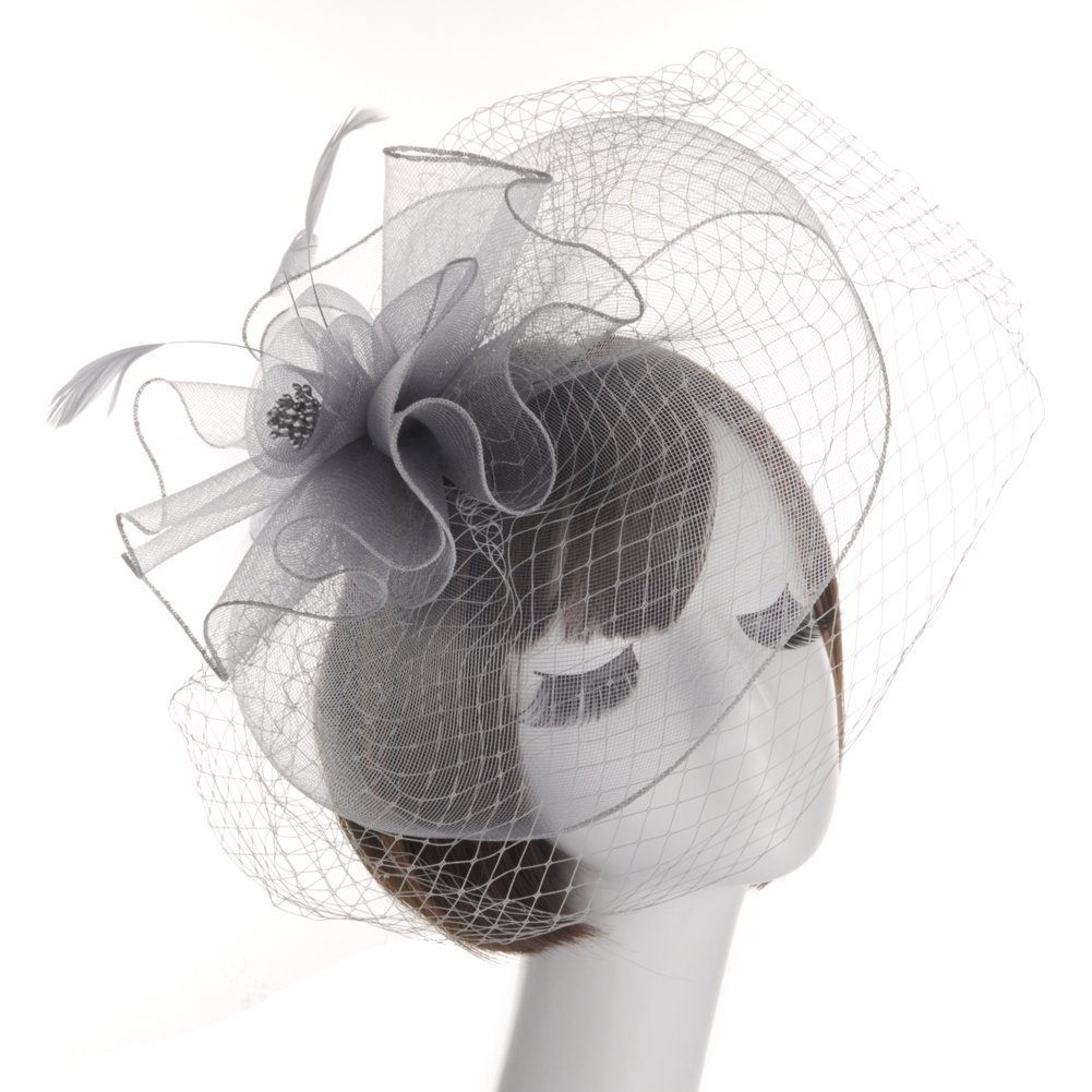 Fankeshi Women's Cocktail Sinamay Fascinator Hat Flower and Veil Hair Clip Hat Silver
