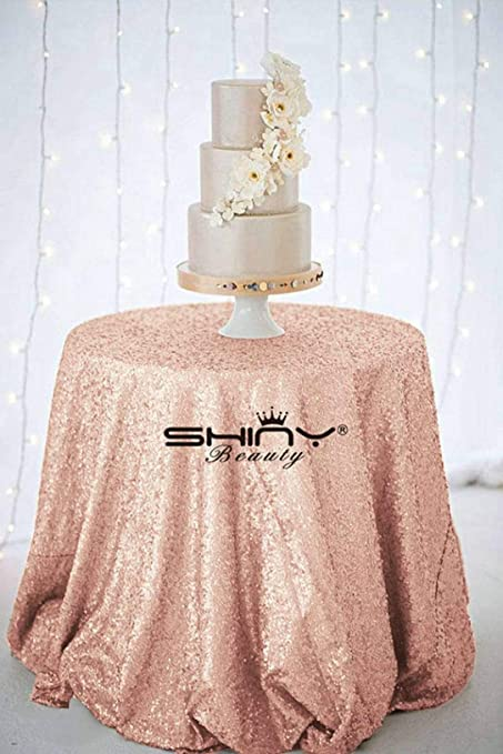 9021b1fb2515 Amazon.com  ShinyBeauty-Sequin Tablecloth-Blush-120 Inch Round ...