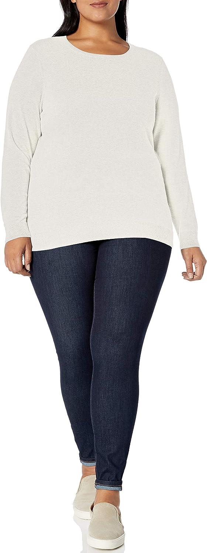 Essentials Womens Plus Size Lightweight Crewneck Cardigan Sweater
