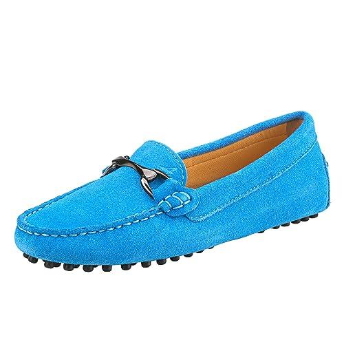 Shenduo Zapatos Primavera - Mocasines de cuero con suela goma cómodos para mujer D7062: Amazon.es: Zapatos y complementos