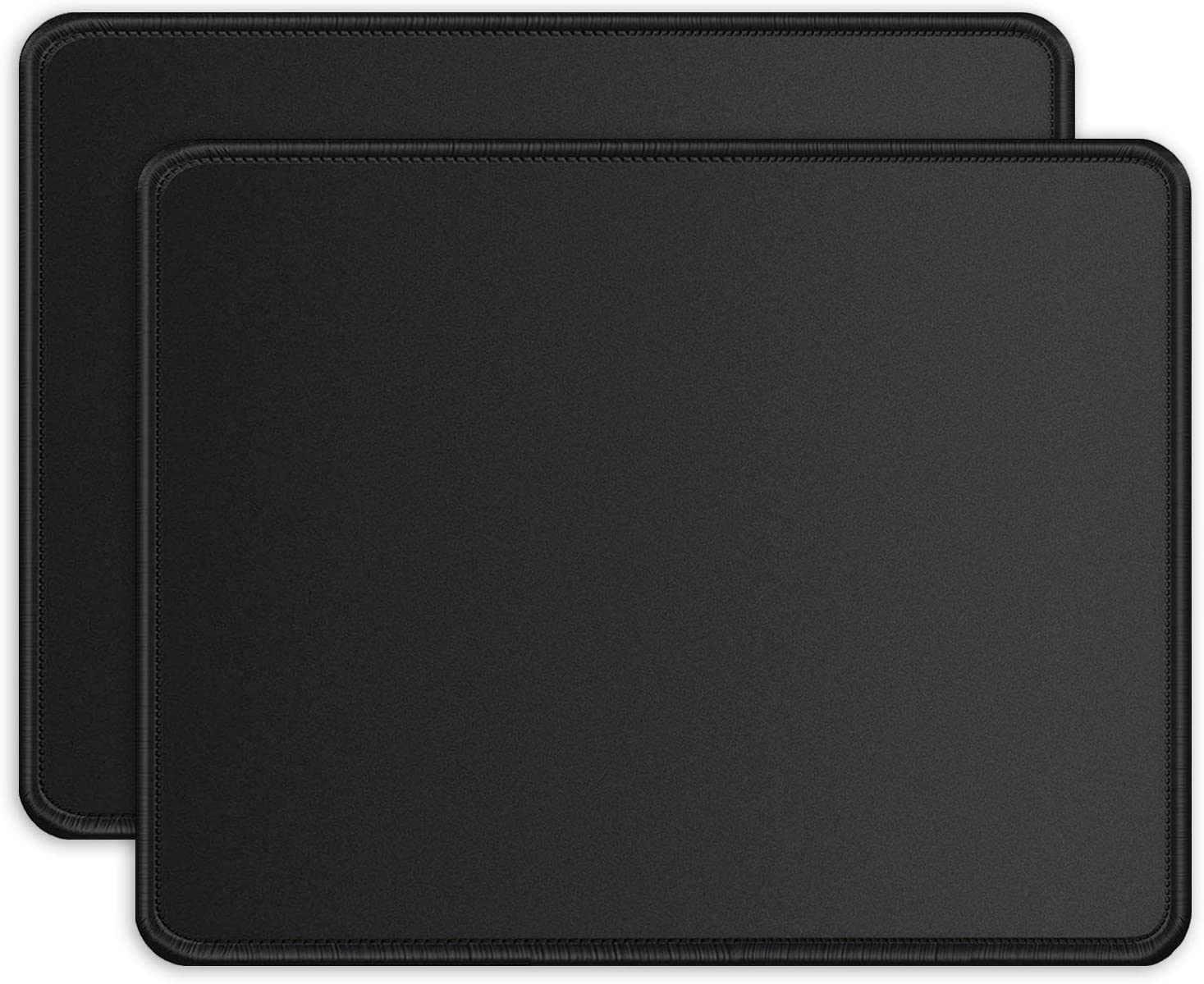 ITNRSIIET [2 Pack] Mouse Pad with Stitched Edge Premium-Textured Square Mouse Mat Washable Mousepads with Lycra Cloth Non-Slip Rubber Base Mousepad for Laptop Computer PC 10.2×8.3×0.12 inches Black