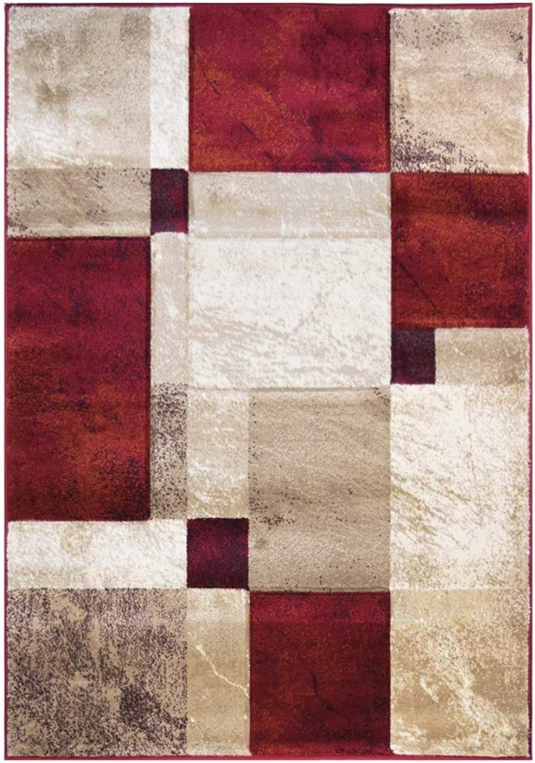 Sapphire Collection, 5 Feet X 7 Feet, Contemporary Abstract Geometric Circles Squares Swirls Bedroom Living Dining Room Area Rug Red Ivory Tan