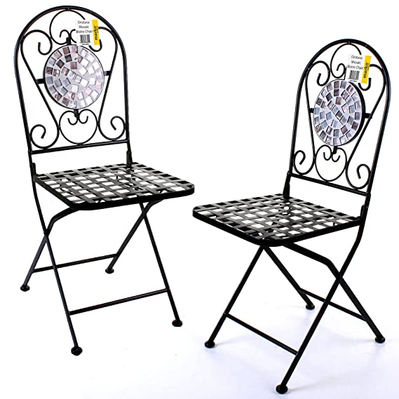29492b379b90 Orotava Marko Outdoor 3PC Mosaic Bistro Sets Round Table Folding Chairs  Outdoor Garden Patio Cafe Furniture Al ...