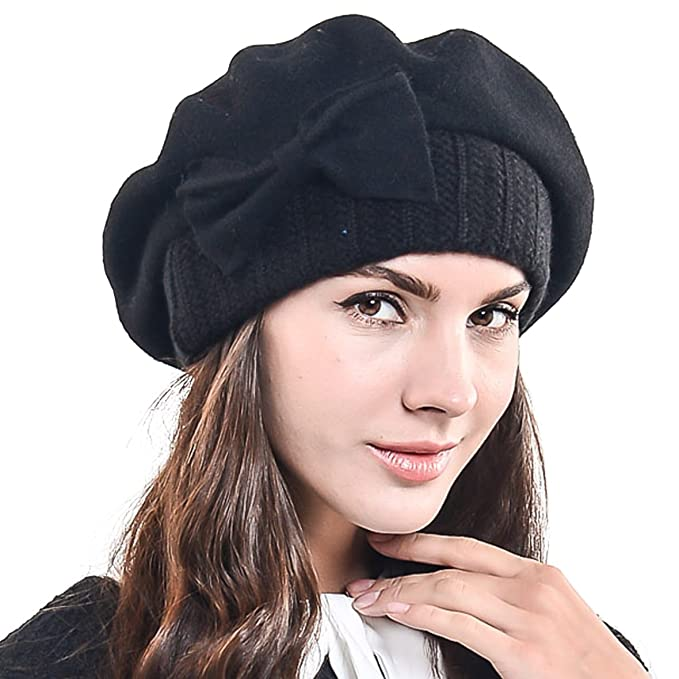 7bb65551a56 HISSHE Lady French Beret 100% Wool Beret Chic Beanie Winter Hat HY022 (Black )(Size  M)  Amazon.co.uk  Clothing