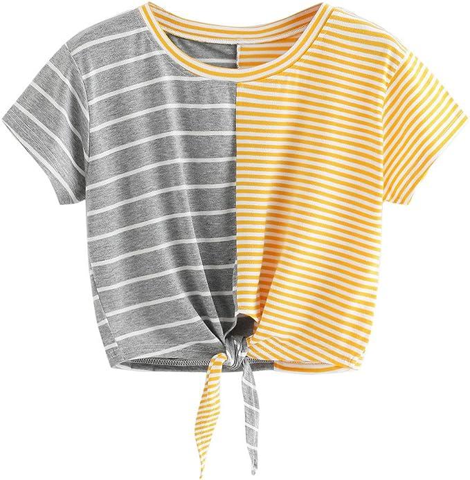 Casual Camiseta de Manga Corta de Mujer, YpingLonk Tops Raya ...