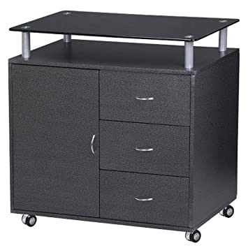 New Black 3 Drawer 1 Door Mobile Rolling File Cabinet Office Furniture Home