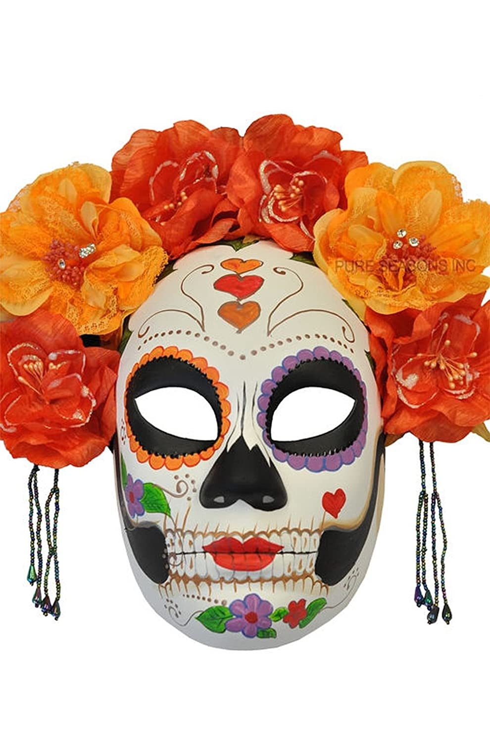 Mememall Fashion La Calavera Catrina Skeleton Skull Masquerade Mask (Red/Orange)