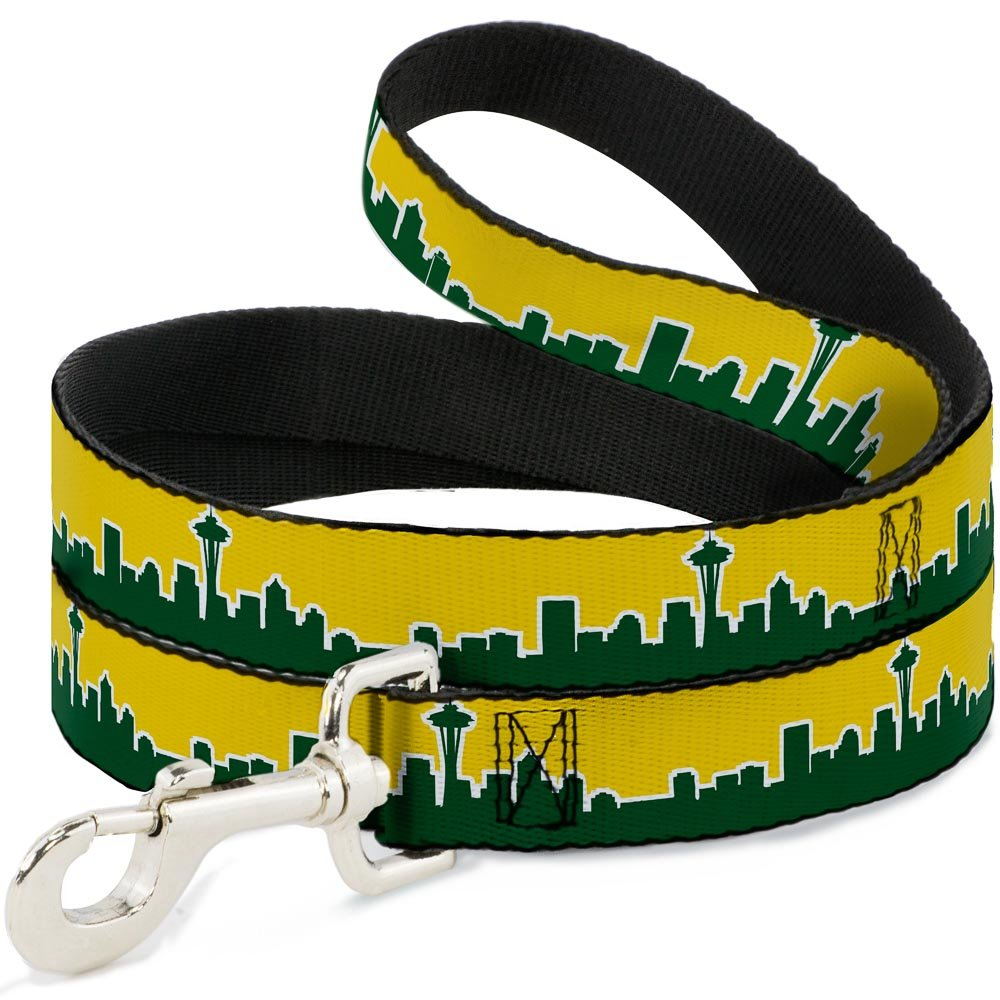 Buckle-Down DL-W34547 Dog Leash 4', Seattle Skyline Yellow with Emerald Green