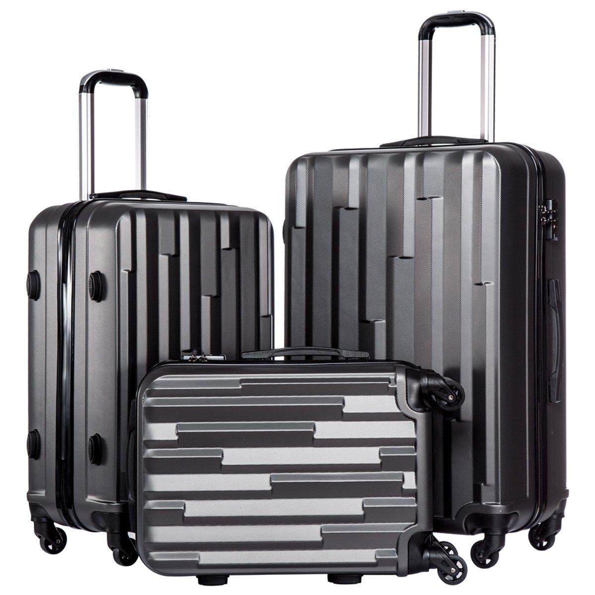 Coolife Luggage Suitcase 3 Piece Set with TSA Lock Spinner Hardshell Lightweight (gray)