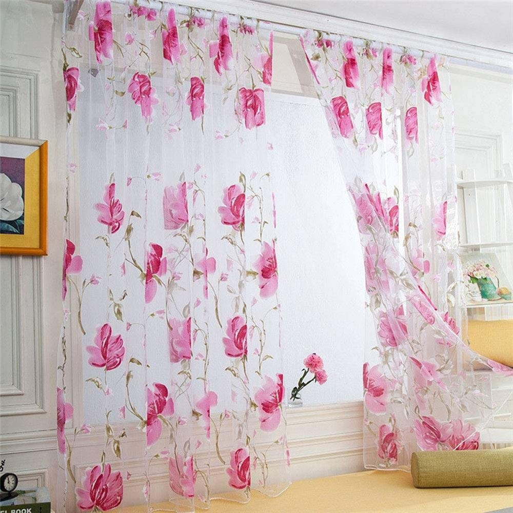 Ink Flower Semi Sheer Curtains,Yhouse Floral Print Window Rod Pocket Top Voile Curtains Panel Yarn for Living Room, 39 x 78 Inches (Pink)