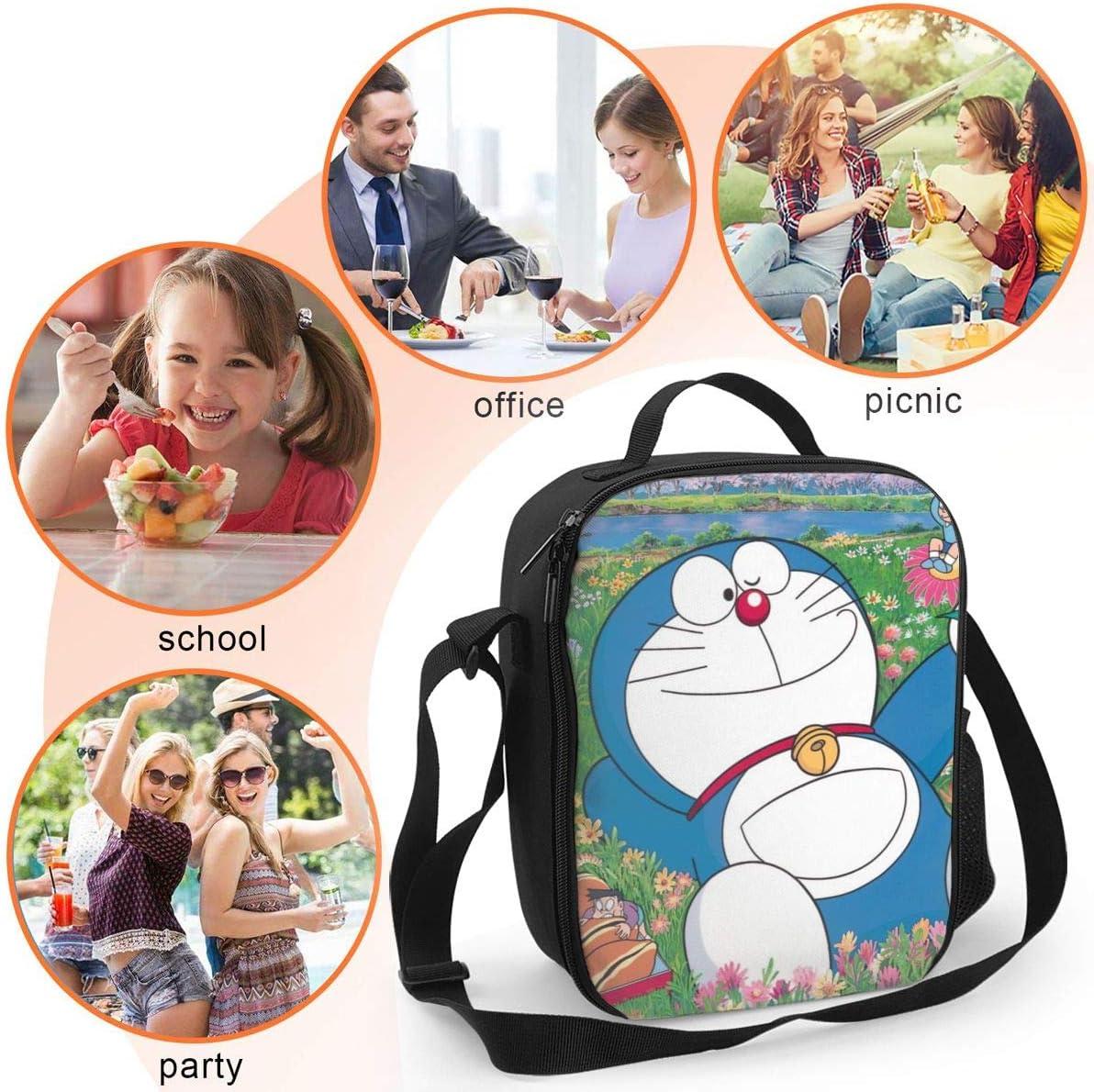 transporte de alimentos gourmet bolsas de almuerzo para ni/ños p/ícnic Doraemon Bolsa de almuerzo aislada con aislamiento t/érmico para la escuela ni/ñas ni/ños y mujeres
