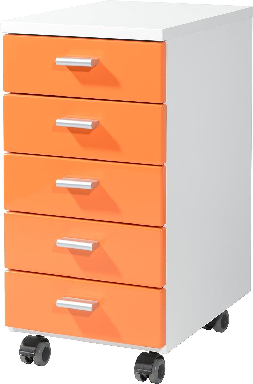 Germania Conteneur á roulettes 4099-182 avec 5 tiroirs - coloris Blanc-Orange - l-h-p env. 28-57-40 cm