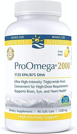 Nordic Naturals ProOmega 2000, Lemon Flavor - 2150 mg Omega-3-90 Soft Gels - Ultra High-Potency Fish Oil - EPA & DHA - Promotes Brain, Eye, Heart, & Immune Health - Non-GMO - 45 Servings