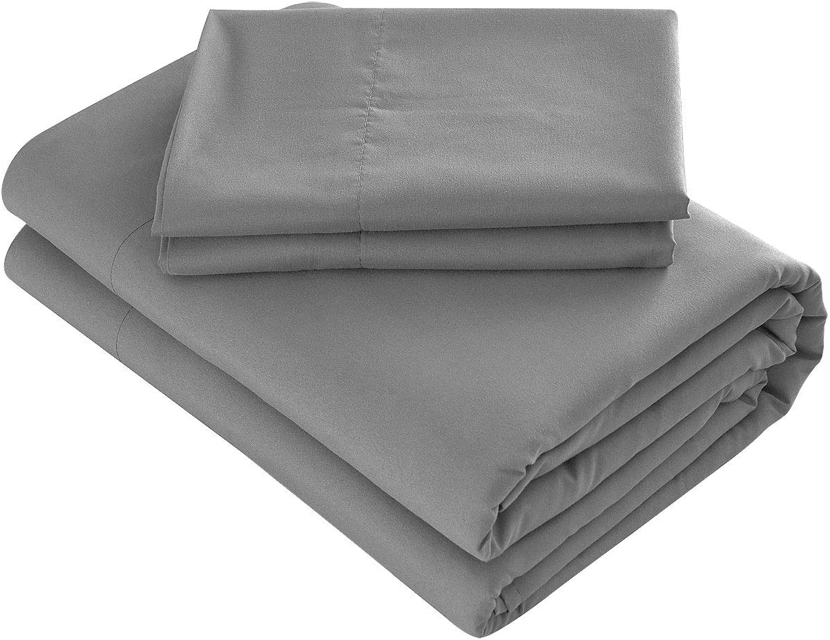 Prime Bedding Bed Sheets - 4 Piece Full Size Sheets, Deep Pocket Fitted Sheet, Flat Sheet, Pillow Cases - Dark Gray