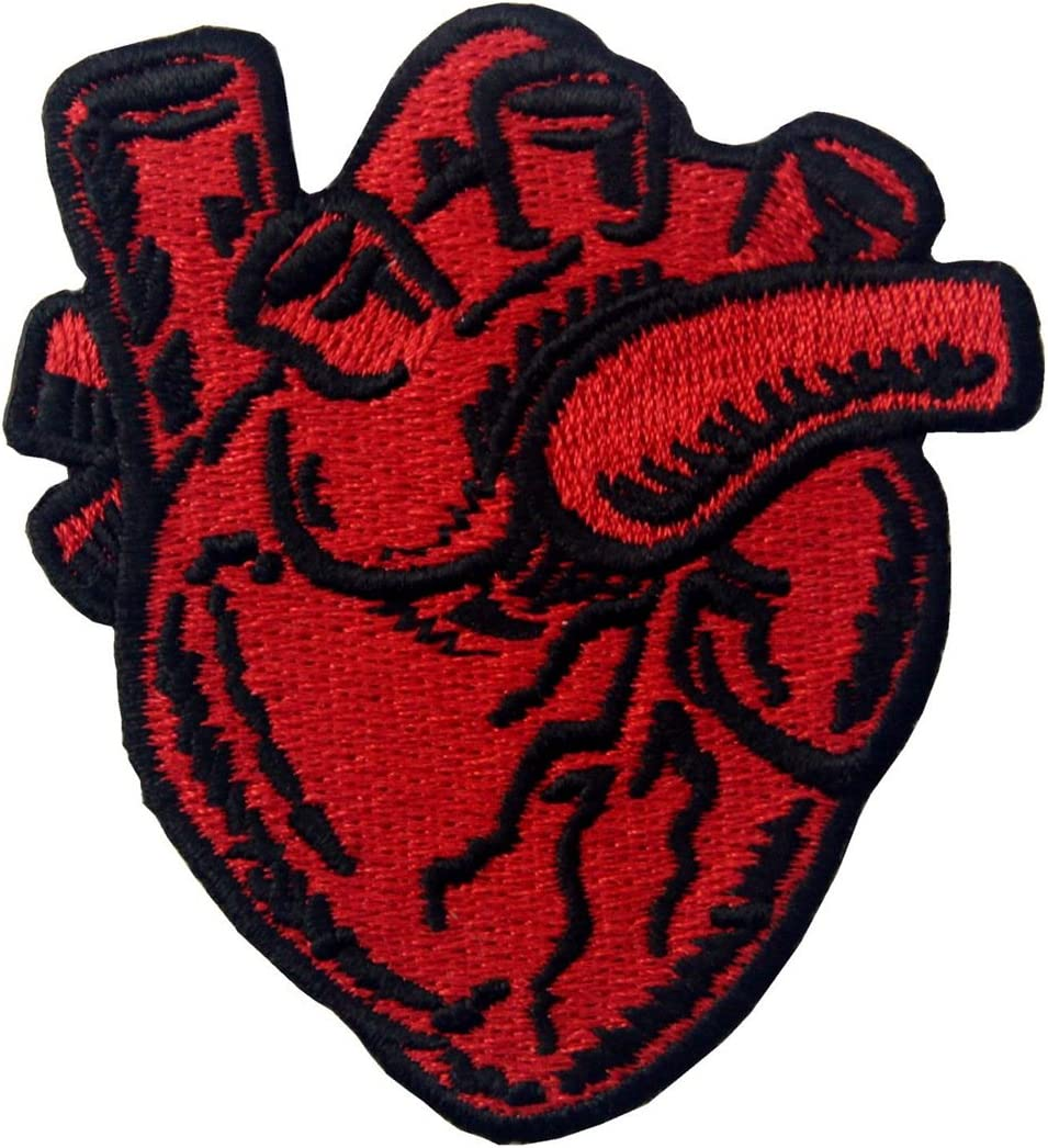 Heart /& Brain Patch Embroidered Badge Iron On Sew On Emblem