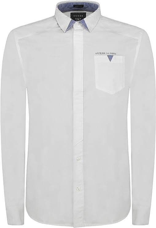 GUESS-ciudad M51H53W5M40-Camisa para hombre blanco 38: Amazon ...