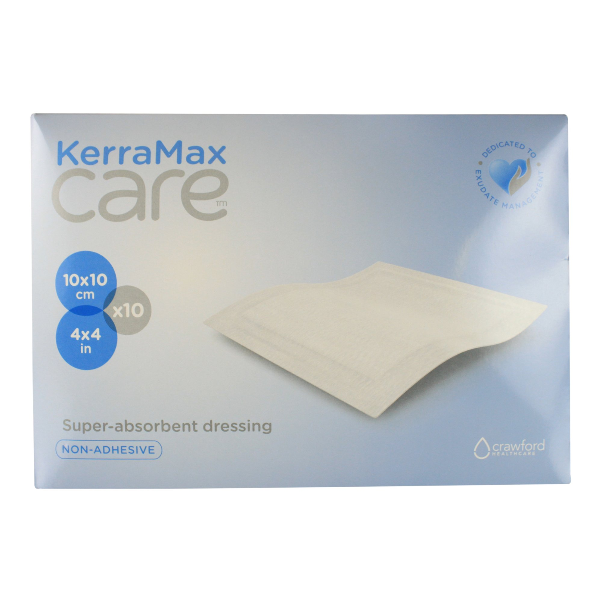 KerraMax Care 4''x4'' Super Absorbent Wound Dressing (PRD500-050) – Absorbs Exudate and Isolates it, Preventing Leaks or Drips for Improved Patient Comfort and Wound Care Treatment (Box of 10)