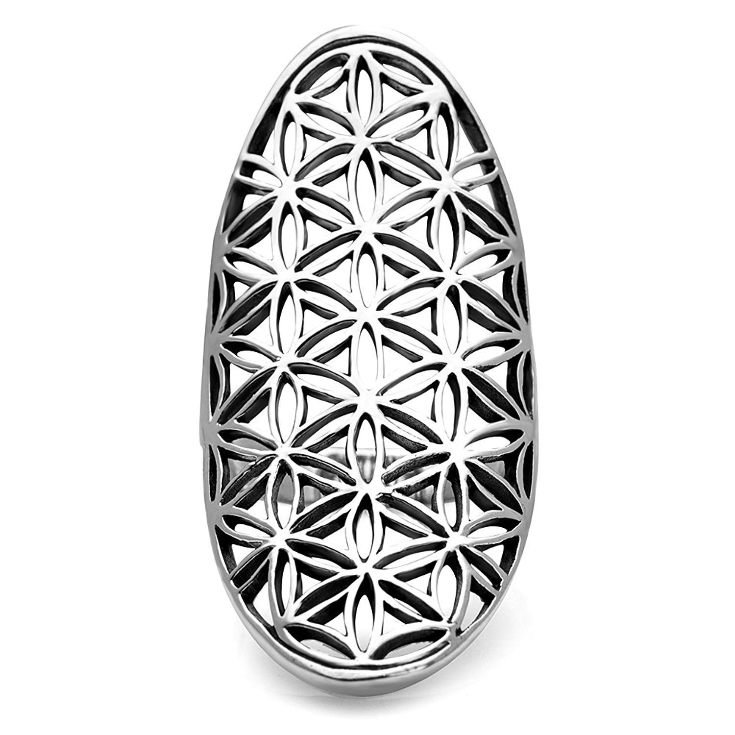 Nickel Free Size 6,7,8,9,10 FLORISHKART Open Filigree Flower of Life Symbol 925 Sterling Silver 4 cm Long Large Band Ring
