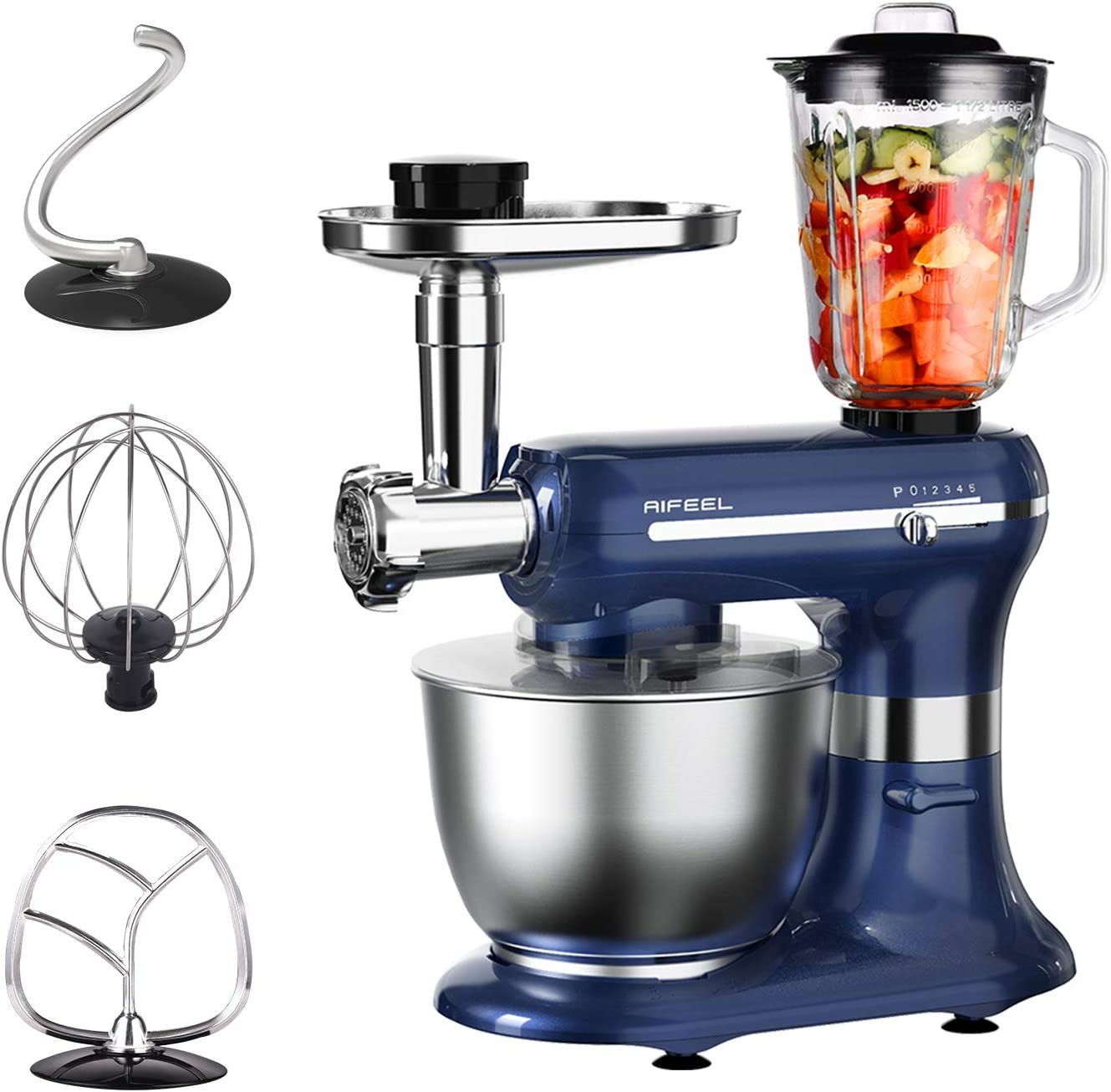 Aifeel Kitchen Mixers - 1200W 6 in 1 Electric Multifunctional Stand Mixer - with 5 L Food Grade Bowl, 3 Mixing Accessories, Food Grinder, Blender, Sausage Accessories - 5 Speed Settings (Retro blue)