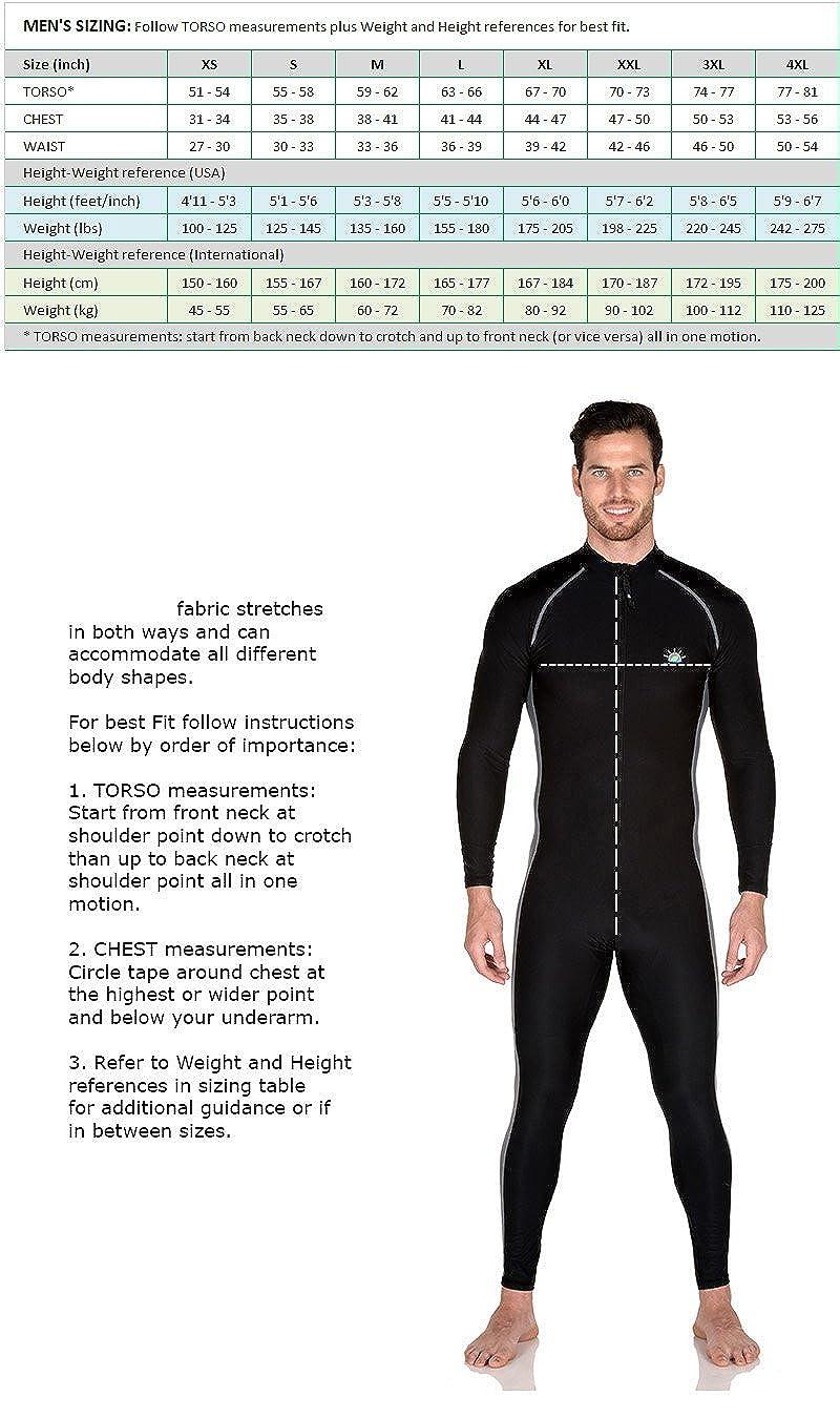 Men Full Body Swimsuit Stinger Suit UV Protection UPF50 Black Silver